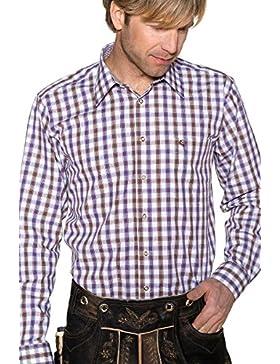 Edelheiss Herren Trachtenhemd Langarm Braun-Lila Karo 111927, Größe 42