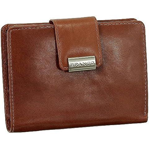 Lujo piel–Cartera de mujer xxl con botón de presión 10cm VERS. Colores, marrón