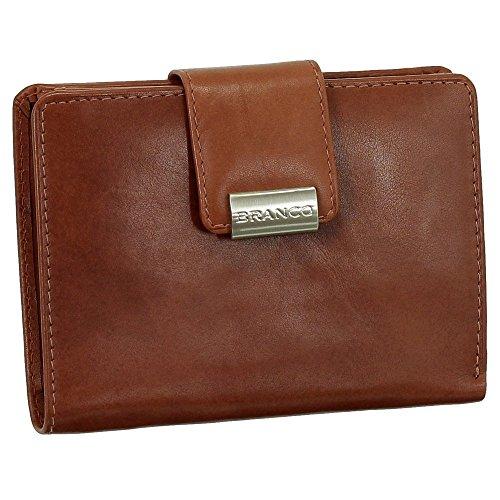 Leder Damen Geldbörse Portemonnaie Geldbeutel XXL mit Druckknopf 10 cm Farbe rotbraun