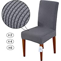 LUOLLOVE Chair Covers,Stretch Removable Washable Chair Covers for Dining Chairs,Dining Chairs Covers with Elastic Band for Home,Hotel,Banquet(2 PCS,Gray)