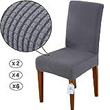 LUOLLOVE Stuhlhussen, Stretch Abnehmbare Waschbar Stuhlbezug für Esszimmerstühle,Stretch Stuhl Mit Gummiband für Esszimmer(2er,Grau)