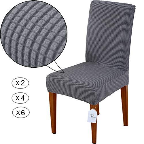 LUOLLOVE Stuhlhussen, Stretch Abnehmbare Waschbar Stuhlbezug für Esszimmerstühle,Stretch Stuhl Mit Gummiband für Esszimmer,Hotel,Bankett(2 Stück, Grau) -
