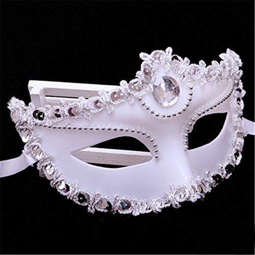 Halloween Maske Make up Tanz Show Party Catwalk Performance Gemaltes Halbes Gesicht Schöne Prinzessin Masken,Weiß