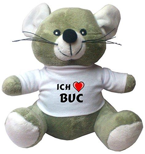 Maus Plüschtier mit Ich liebe Buc T-Shirt (Vorname/Zuname/Spitzname)