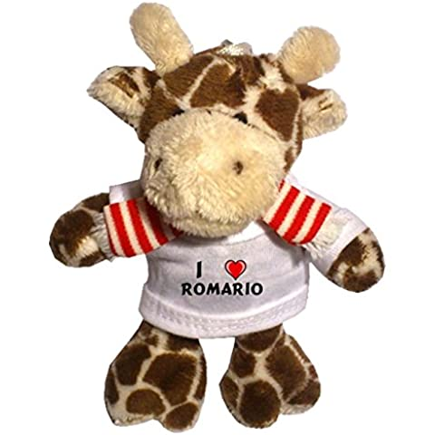 Jirafa de peluche (llavero) con Amo Romario en la camiseta (nombre de pila/apellido/apodo)