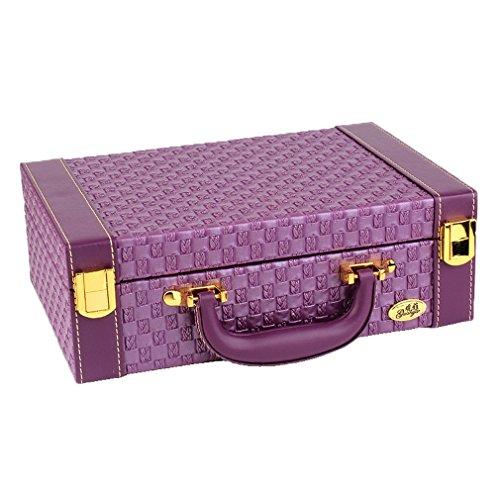 COMVIP Coffret/Boîte à Bijoux Portable en PU Trousse à Maquillage Vintage Princesse Palais 27*18.5*9cm Violet