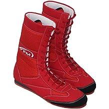 PM Sport Tobillera larga de piel auténtica para boxeo/lucha de botas de goma suela
