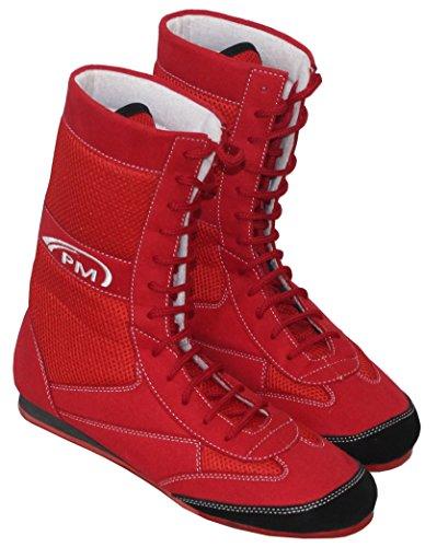 Uhr Sport, Boxen mit echtem Leder-Wrestling Schuhe Gummisohle–Mash –, für Erwachsene, rot, ()