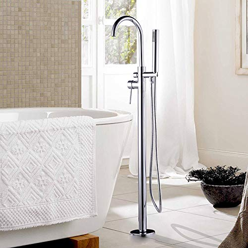 Rozin Bad Dusche Badewanne Chrom Wasserhahn Einhandmischer mit Handspritzgerät Badewanne Wasserhahn Freistehend Standarmatur Badewannenarmatur