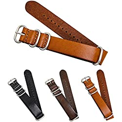 CIVO Genuine Grain Leather NATO Zulu Military Swiss G10 Watch Band Strap 18mm 20mm 22mm Stainless Steel Buckle with Top Spring Bar Tool and 4 Spring Bars Bonus
