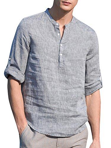Pxmoda Herren Casual Langarm Leinenhemd Henley Shirt Daily Look Leinenhemden Sommer Tops (Grau, X-Large) -
