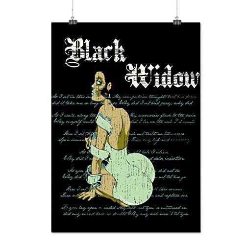 Witwe Sexy Mädchen Zombie Spinne Fluch Mattes/Glänzende Plakat A3 (42cm x 30cm) | (Beerdigung Witwe Kostüm Schwarze)