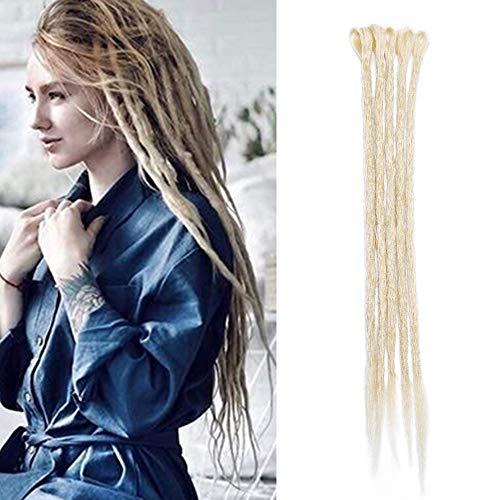 Sego extension dreadlock rasta 5 pezzi treccia dread da donna capelli lunghi sintetici braiding hair fibre uncinetto 50cm - biondo chiarissimo