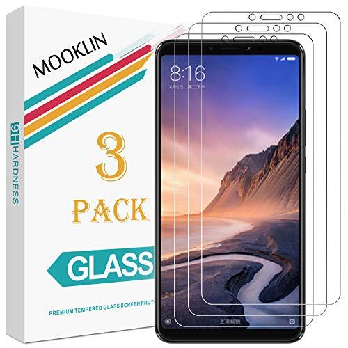 MOOKLIN Xiaomi Mi MAX 3 Protector de Pantalla,[3 Piezas] [Anti-Rasguños] [Dureza 9H] [Alta Definición] Film para Xiaomi Mi MAX 3 Cristal Vidrio Templado Premium