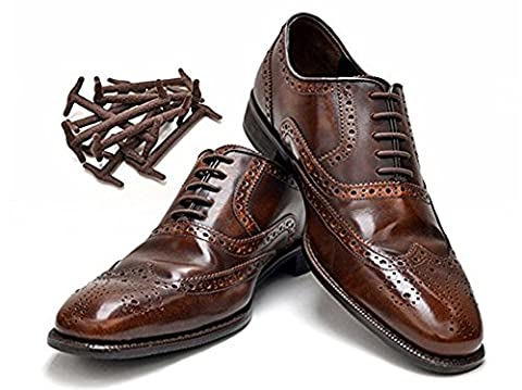 No tie shoelaces for dress shoes silicone elastic shoe strings oxford shoe laces (3CM, BROWN)