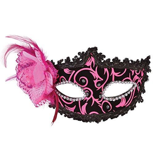 Tanzen Kostüm Fancy - Bristol Novelty EM111 Augenmaske, Rosa/Schwarz, Damen, pink, Einheitsgröße