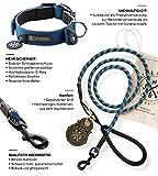 Premium Leine und reflektierendes Halsband Set Buddy - Hundeleine aus Profi-Kletterseil und Hunde-Halsband neopren gepolstert und reflektierend div. Farben und Größen (Halsumfang S (28-35 cm), Leine Blau)