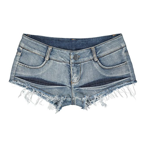 JCH Mini Denim Shorts, Booty Shorts Denim Jeans Strand Low Rise Tanga Sexy abgeschnitten Mini Hot Pants für Frauen (Size : L) - Shorts Frauen Booty