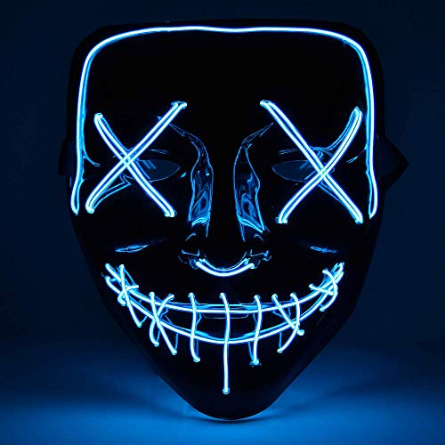 Eulan LED Neon Mask Halloween Party Mask from The Purge Election Year Festival Adult Luminous Light Glow In Dark Skull Cosplay Costume (Blue led mask) (In Dark The Halloween-maske Glow)