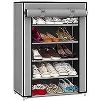 EMBROSS 4 Shelves Fabric Carbon Steel Cabinet/Shoe Rack (Gery)