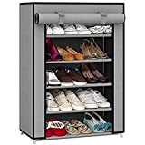 EMBROSS Carbon Steel Fabric Shoe Rack (Grey 4 Shelves)
