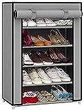 #9: EMBROSS 4 Shelves Fabric Carbon Steel Cabinet/Shoe Rack (Gery)