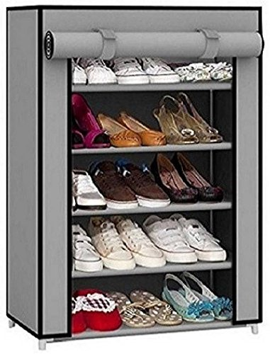 EMBROSS Carbon Steel Fabric Shoe Rack  Grey 4 Shelves