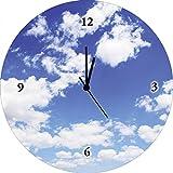 Wall clock, Digital, radio controlled, High-Quality print on Glass Clock Quiet Artland Pakhnyushchyy Clouds, Glass, blue, Analoguhr Ø 35 cm