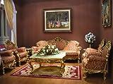 Barroco salón Set suite sofá tallada 3plazas sillón tallado mesa estilo envejecido Vp0830