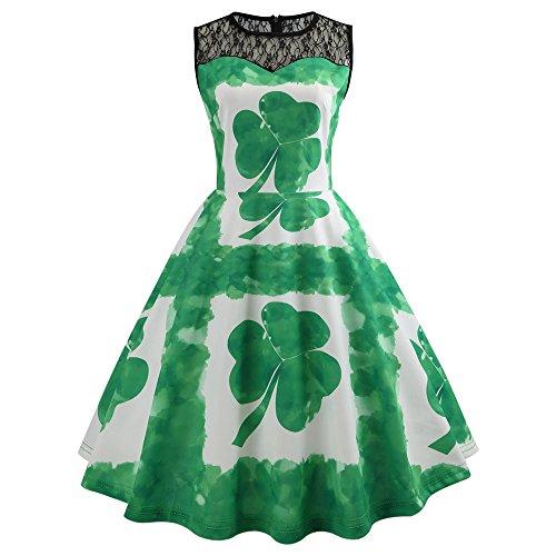 Malloom-Bekleidung Grüner Leprechaun Kobold Gnom St. Patricks Day Damen Kostüm st Patricks Tag Kobold Lepricorn + Tasche & Strümpfe Kostüm Kleid ()