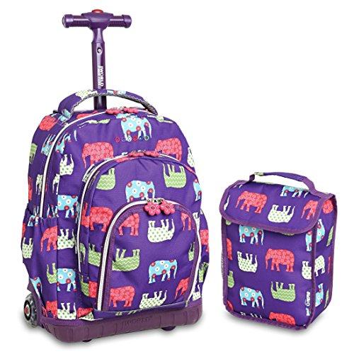 Imagen de  escolar con ruedas y base reforzada. ruedas con luces. incluye lunchera. jworld modelo lollipop. diseño elephant.
