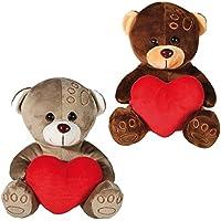 Conjunto de 2 18 cm oso de peluche con corazón suave de peluche regalo día de