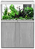 ENSEMBLE AQUARIUM EXPERT LED 248 LITRES 100X40 CM INOX + MEUBLE GRIS VEINE