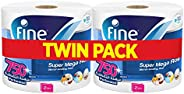 Fine, Sterilized Paper Towel, Mega Roll, 750 Sheets, 2 Ply - Pack of 2