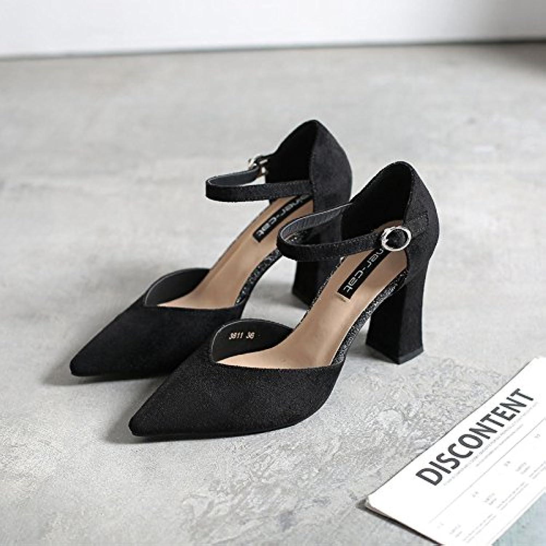 Resorte grueso con zapatos de mujer salvaje de punta plana de satén, Negro,35