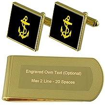 Insignes de grade de la Marine royale d'Or-ton taux de manchette argent gravé Collier Cadeau