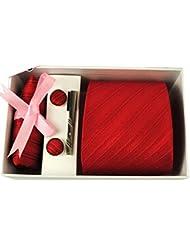 EOZY Ensemble Cravate Mouchoir Bouton Manchette Office Sergé Rouge