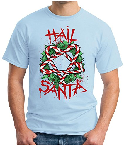 OM3 - HAIL-SANTA - T-Shirt BLOOD SANTA CLAUS SATAN BLACK METAL 666 PENTAGRAM FUCKING XMAS GEEK, S - 5XL Himmelblau