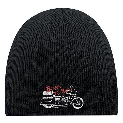 Preisvergleich Produktbild Fan-O-Menal BEANIE mit Einstickung - Bike born to ride - 50981 schwarz