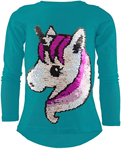 Unicorn Einhorn Mädchen Langarm Baumwolle Wendepailletten T-Shirt Bluse Long Shirt Pullover Pulli (Türkis, 152-158)