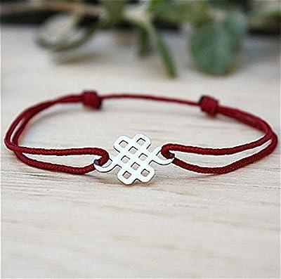 Bracelet cordon au choix et noeud chinois argent massif 925