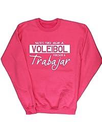 HippoWarehouse NACIDO PARA JUGAR AL VOLEIBOL FORZADO A TRABAJAR jersey sudadera suéter derportiva unisex niños niñas