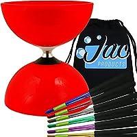 Red Big Top - Jumbo Bearing Diabolos Set, Ali Dream Metal Diablo Sticks, Diabolo string & Bag