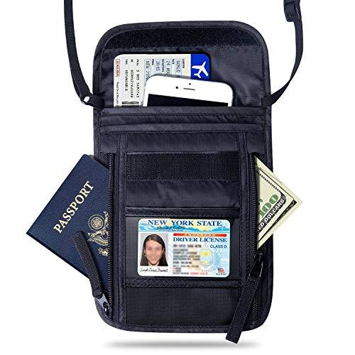FREETOO Bolsa de viaje con bloqueo de RFID para el cuello documentos pasaportes billetes movil llaves mapas tarjetas efectivo- Organizador con 7 bolsillos
