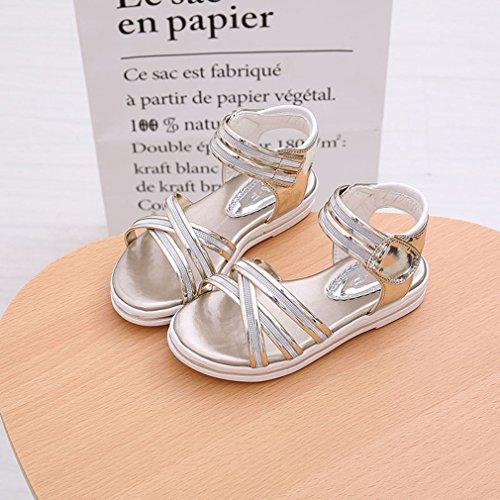 EOZY Chaussures Princesse Ballerine Paillette Enfant Bébé Fille Sandales Plat Nœud Chaussure Ville Champagne