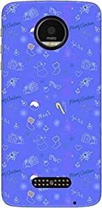 The Racoon Grip printed designer hard back mobile phone case cover for Motorola Moto Z. (Blue Chris)
