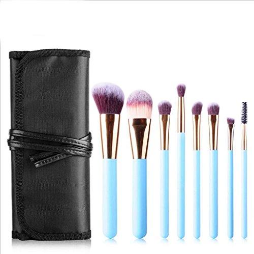8 brosse fibre de laine bleue fixée pour les débutants beauté outils de maquillage brosse beauté mis pinceau de maquillage ensemble
