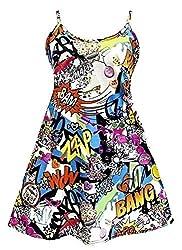 F4U® Womens Printed Cami Dress Top Ladies Summer Swing Mini Dress Long Top Plus Cami Swing Dress Flared Cami Dress 8-26