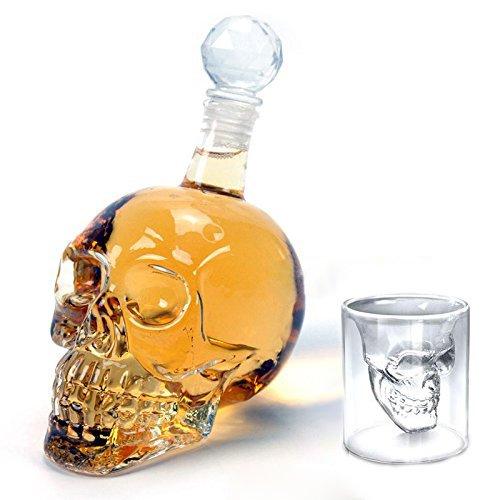 """Amzdeal Kit bottiglia Skull -6 bicchieri da shot """"Doomed Skull""""(75ML), +1 bottiglia(350ML) ,in vetro trasparente"""