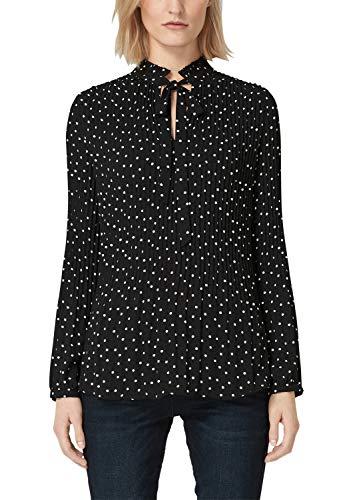 s.Oliver BLACK LABEL Damen Plissee-Bluse mit Stehkragen Black AOP 44